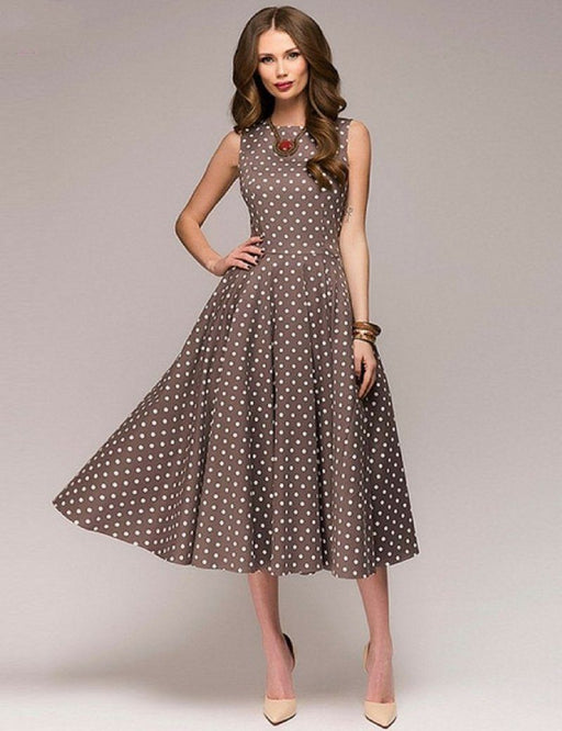 Evie™ - Vintage Dots Dress-Boots N Bags Heaven
