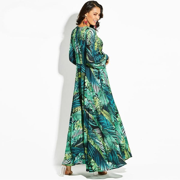 Flowing Tropical Summer V-Neck Maxi Dress-Boots N Bags Heaven