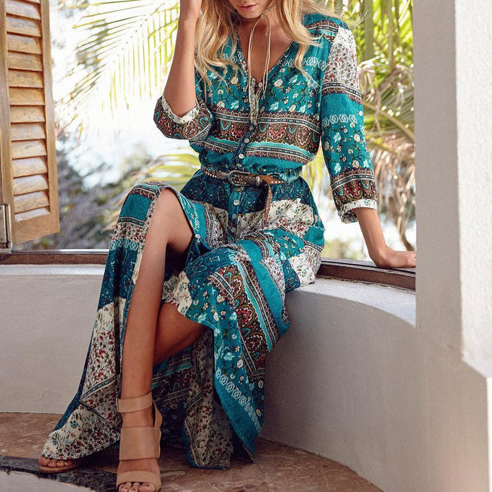 Iris™ - Bohemian Summer Dress-Boots N Bags Heaven
