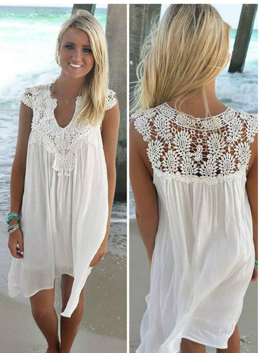 Naomi™ - Lace Beach Tunic Summer Dresses- Beach Dresses- Plus Size Beach Dresses-Boots N Bags Heaven