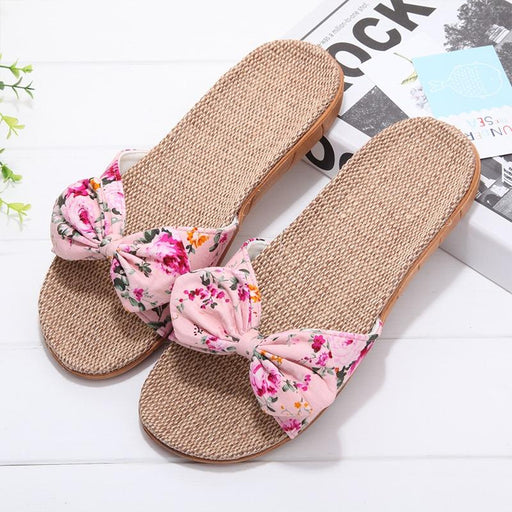 Summer Floral Ribbon Strap Slipper - Summer Floral Ribbon Strap Slipper