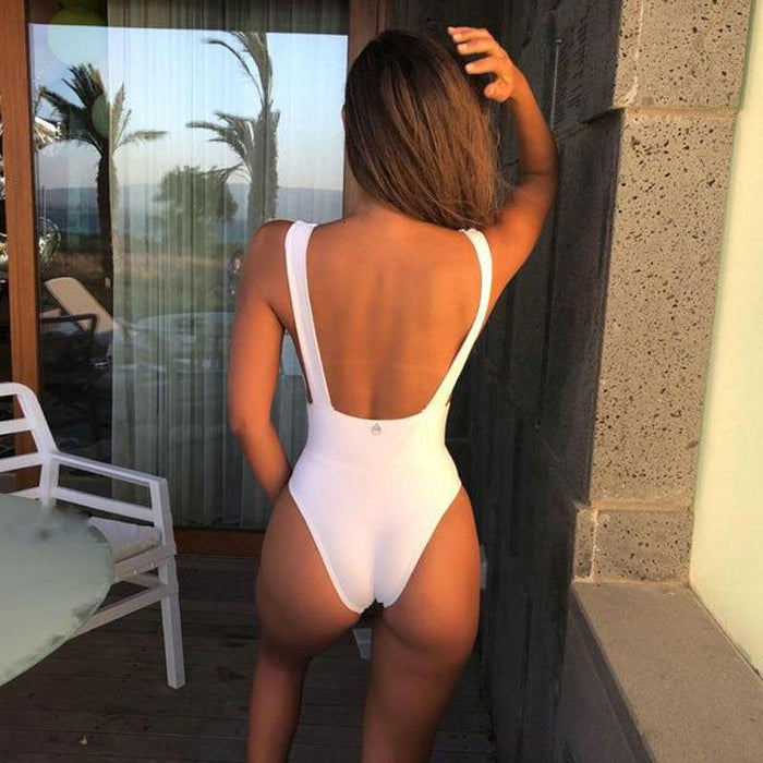 Summer Fun Deep V Halter One Piece Swimsuit-Boots N Bags Heaven