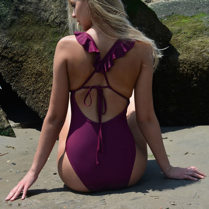 Summer Fun Purple Ruffle V-Neck One Piece Swimsuit-Boots N Bags Heaven