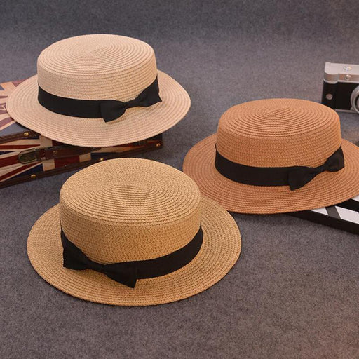 Summer Straw Hat with Bow Tie-Boots N Bags Heaven