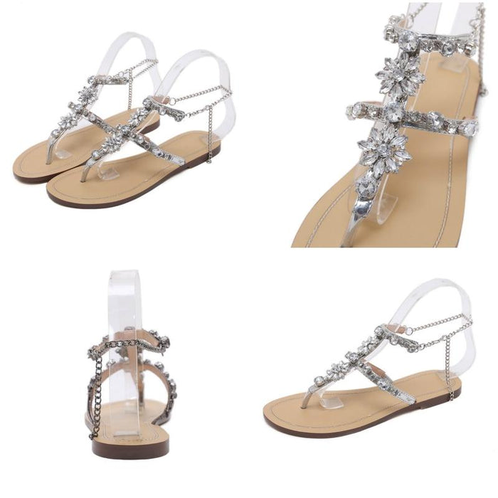 Bejeweled Floral Summer Sandals with Chains-Boots N Bags Heaven