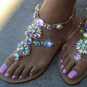 Summer Sandals Bejeweled Floral Summer Sandals With Chains - Bejeweled Floral Summer Sandals With Chains