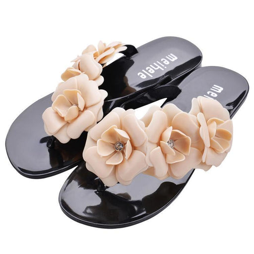 Camellia Flower Summer Beach Sandals-Boots N Bags Heaven