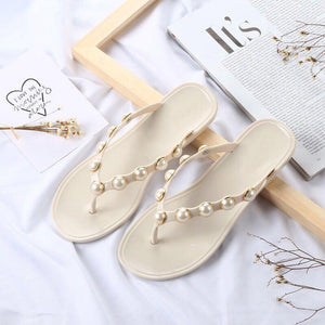 Summer Sandals - Pearl Studded Summer Beach Sandals