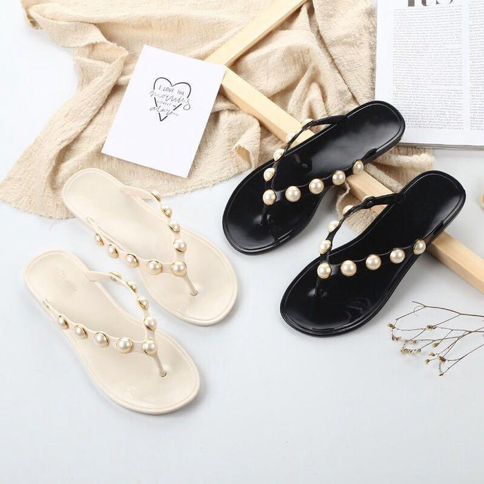 Pearl Studded Summer Beach Sandals-Boots N Bags Heaven