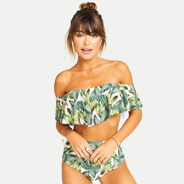 Sweet Off Shoulder Ruffled Two-Piece Swimsuit-Boots N Bags Heaven