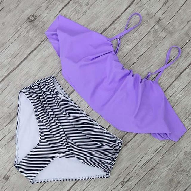 High Waist Halter Retro Swimsuits-Boots N Bags Heaven