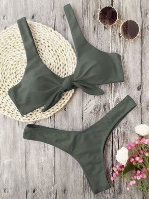 Swimsuit - Knotted Padded Thong Bikini Swimsuits