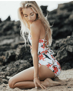 Swimsuit - Lace-Up Back One Piece Swimsuits