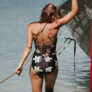 Swimsuit - Lace-Up One Piece Swimsuit