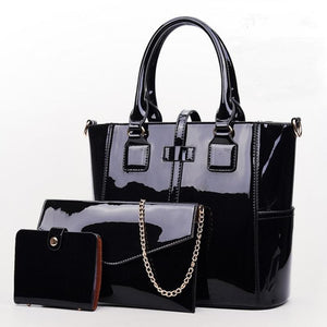 Three Piece Glossy Handbag - Three Piece Glossy Handbag Set