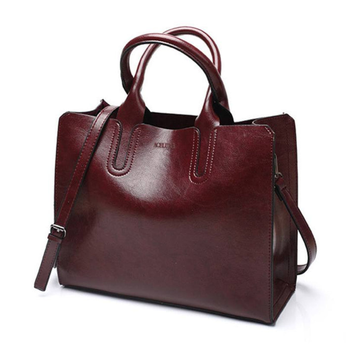 Faux Leather Tote Shoulder Bag-Boots N Bags Heaven