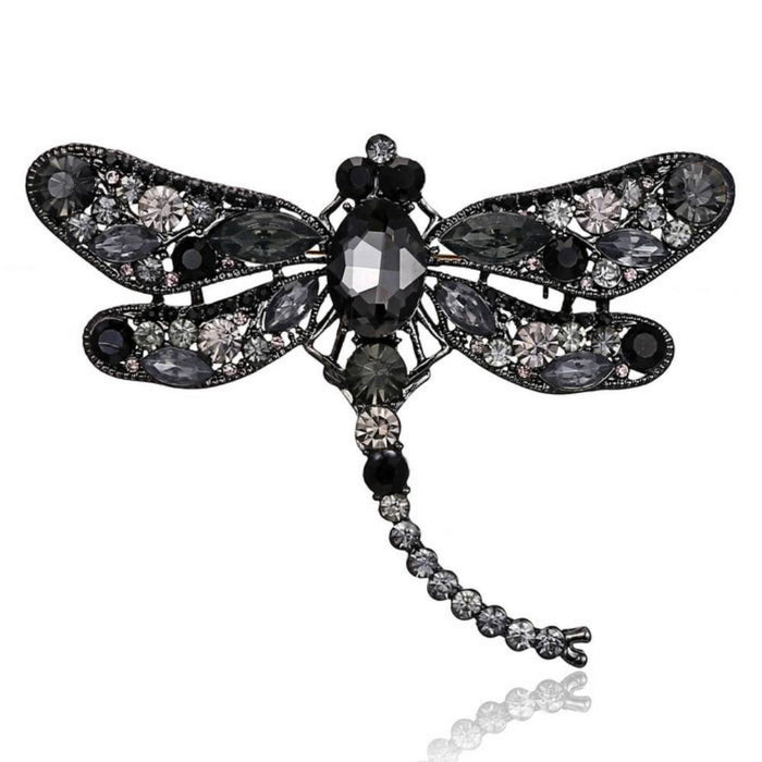 Vintage Jeweled Crystal and Rhinestone Dragonfly Brooch-Boots N Bags Heaven