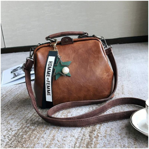 Vintage Stylish Compact Leather Crossbody Bag-Boots N Bags Heaven