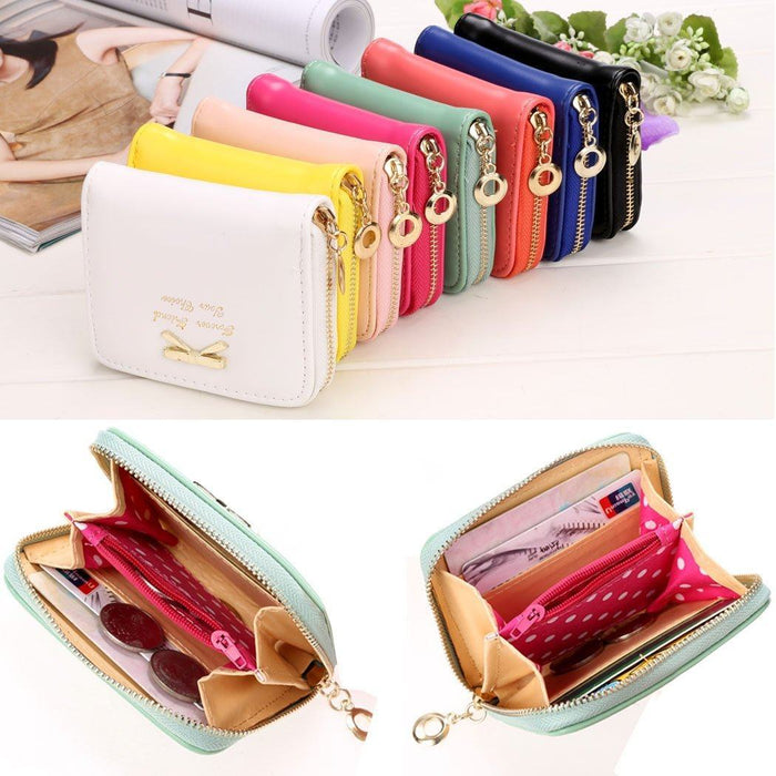 Candy Colored Short Leather Wallet-Boots N Bags Heaven