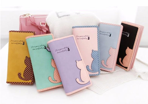 Lovely Cat Long Leather Wallet-Boots N Bags Heaven
