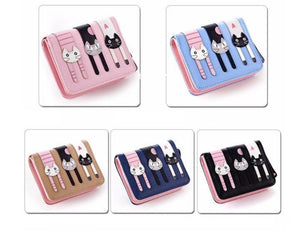 Wallet - Lovely Cat Short Leather Wallet