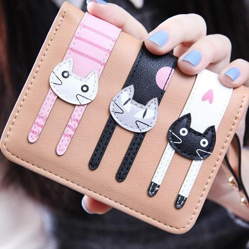 Lovely Cat Short Leather Wallet-Boots N Bags Heaven
