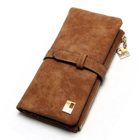 Nubuck Leather Two Fold Zipper Wallet-Boots N Bags Heaven