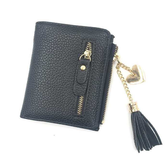 Heart Chain Leather Wallet-Boots N Bags Heaven