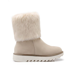 Winter Boots Flat Heel Fur Plush Winter Snow Boots - Flat Heel Fur Plush Winter Snow Boots