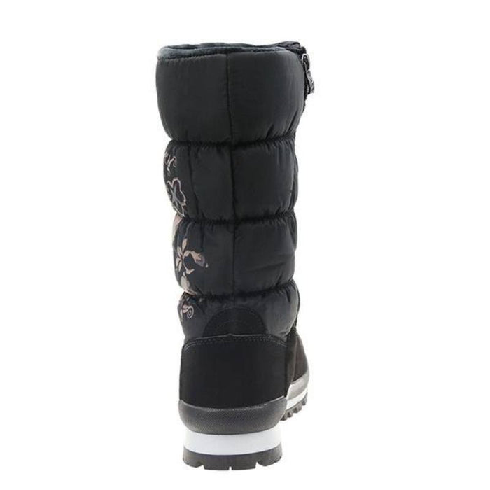 Floral Winter Plush High Boots-Boots N Bags Heaven