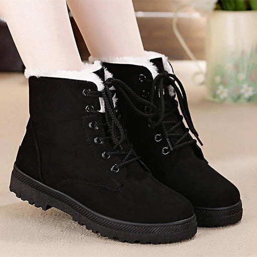 Winter Plush Lace Up Ankle Boots-Boots N Bags Heaven