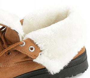 Winter Boots Winter Plush Lace Up Ankle Boots - Winter Plush Lace Up Ankle Boots