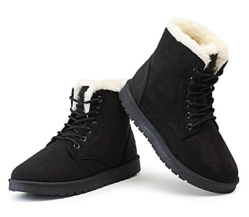 Winter Suede Ankle Boots With Fur Plush-Boots N Bags Heaven