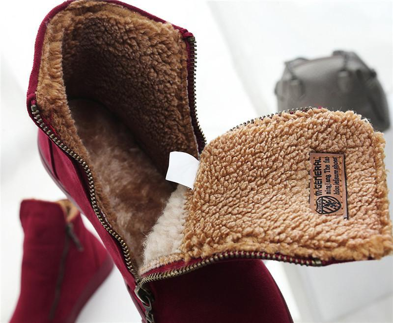 Zipper Winter Ankle Boots-Boots N Bags Heaven
