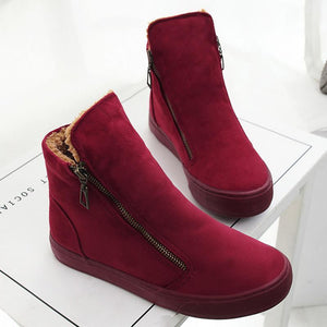 Winter Boots - Zipper Winter Ankle Boots