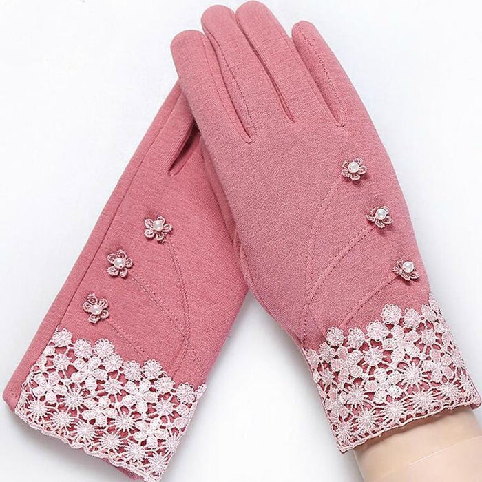 Dainty and Elegant Floral Winter Gloves-Boots N Bags Heaven