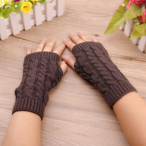 Winter Gloves Faux Wool Winter Finger-less Warmer Gloves - Knitted Finger-less Warmer Gloves
