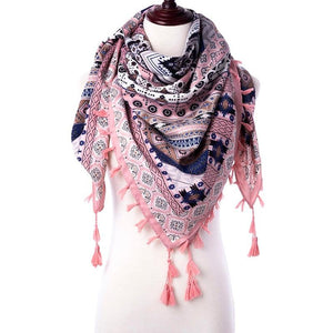 Winter Scarf Winter Bohemian Style Women Scarf With Pretty Tassels - Winter Bohemian Style Women Scarf With Pretty Tassels