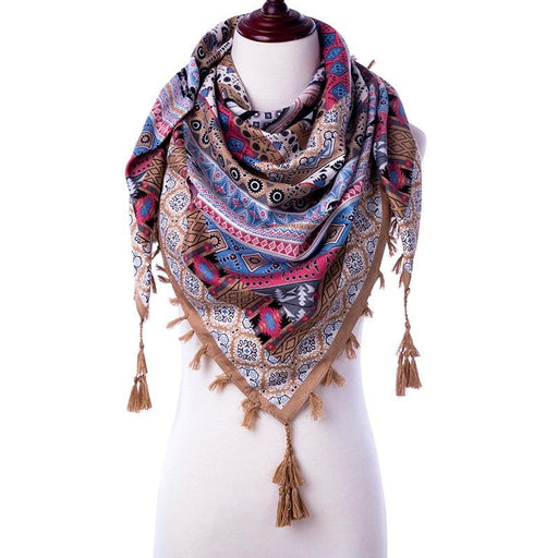 Winter Bohemian Style Women Scarf with Pretty Tassels-Boots N Bags Heaven