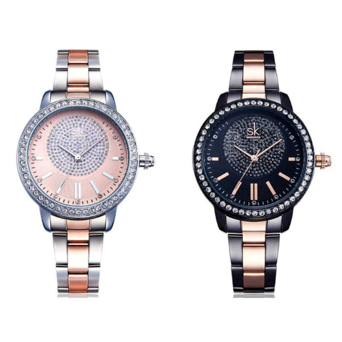 Rose Gold Crystal Wrist Watch-Boots N Bags Heaven