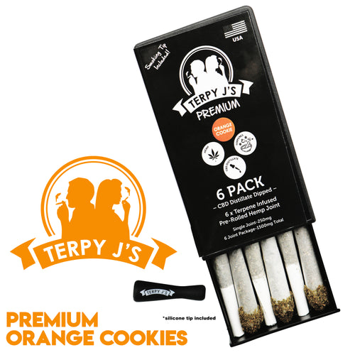 Premium Orange Cookies CBD Hemp Joint 6 Pack