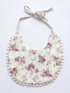 Maria Bib | Beige & Rosey Floral | RTS