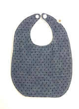 Chambray W/ Navy Blue Dots Bib | RTS
