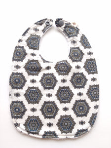 Cream & Navy Hexagons Bib- 2 Styles | RTS