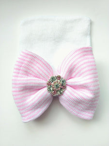 Newborn Hat- White w/Pink Stripes | RTS