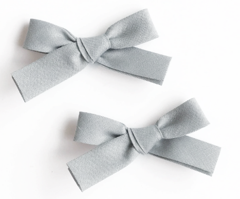 Jennifer Bow Pigtail Set | Gray | RTS