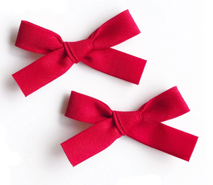 Jennifer Bow Pigtail Set | Red | RTS
