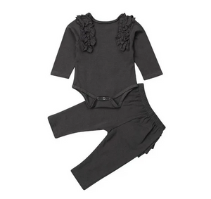 Ruffles Bodysuit 2pcs Set w/ Pants | Gray