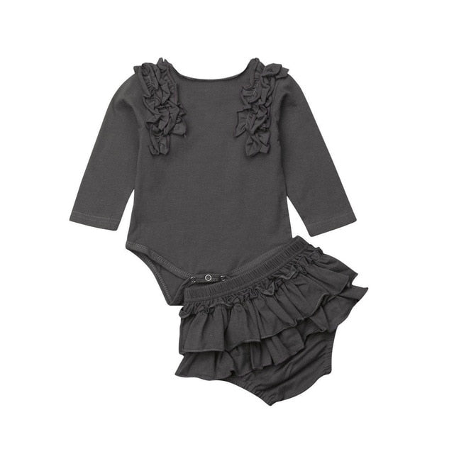 Ruffles Bodysuit 2pcs Set w/ Bloomers | Gray