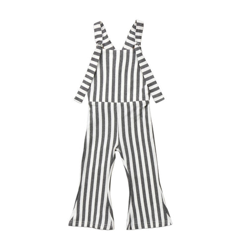 Striped Bell Bottoms Romper- Gray